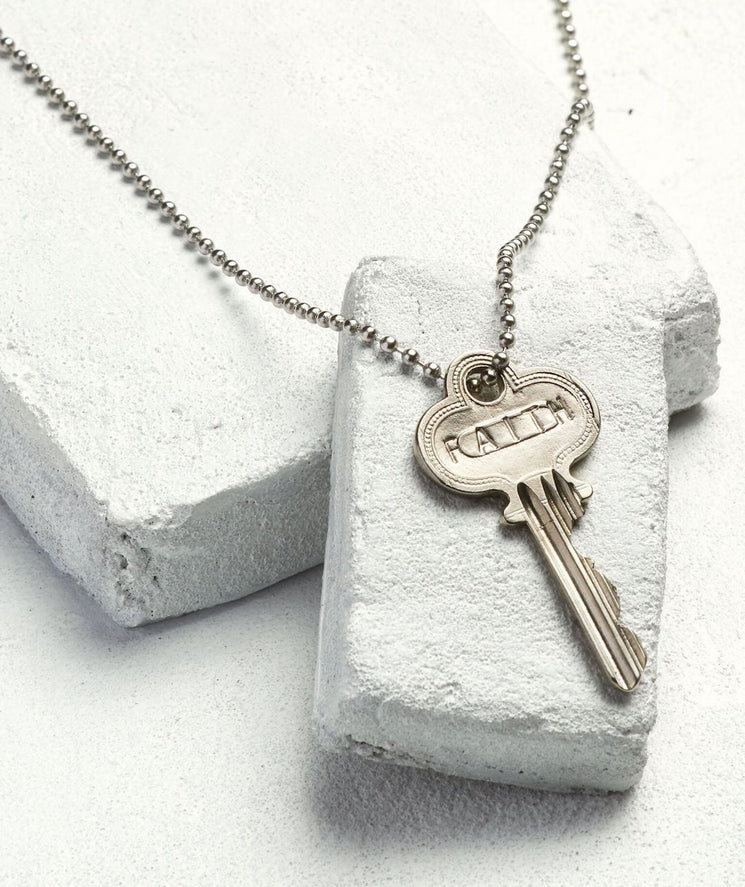 Silver Ball Chain Key Necklace Necklaces The Giving Keys FAITH Silver Ball