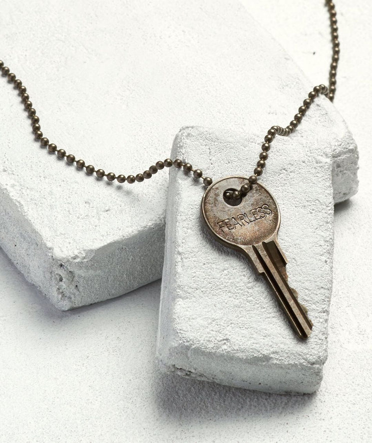 Brass Ball Chain Key Necklace Necklaces The Giving Keys FEARLESS Brass Ball