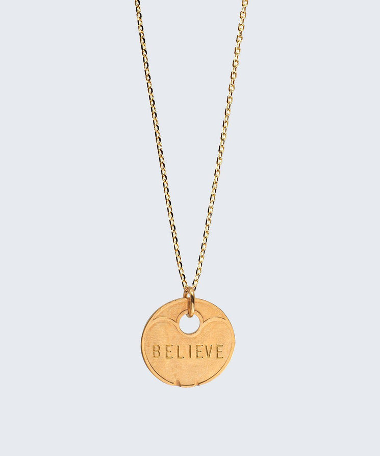 Lucky Coin Dainty Necklace Necklaces The Giving Keys BELIEVE GOLD