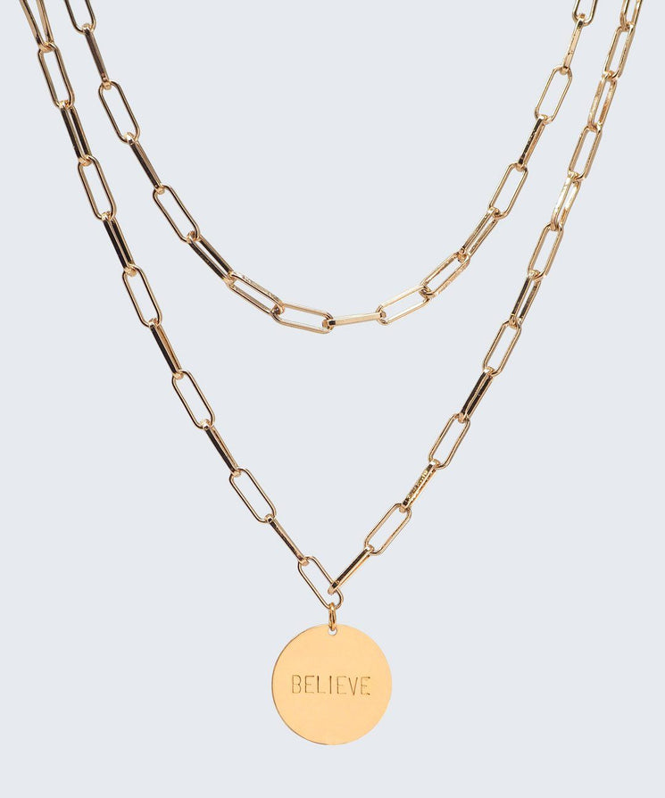 Brooklyn Double Drop Disc Necklace Necklaces The Giving Keys BELIEVE GOLD