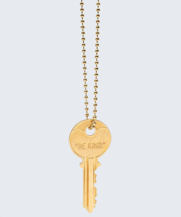 BE KIND. Classic Ball Chain Key Necklace Necklaces The Giving Keys BE KIND Gold Ball