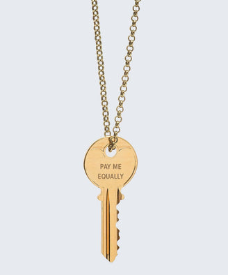 Pay Me Equally Classic Key Necklace Necklaces The Giving Keys PAY ME EQUALLY GOLD