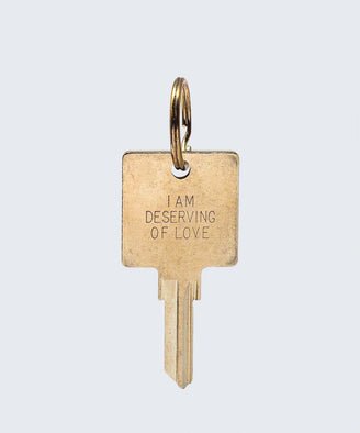 I Am Deserving of Love Keychain Key Chain The Giving Keys I AM DESERVING OF LOVE GOLD