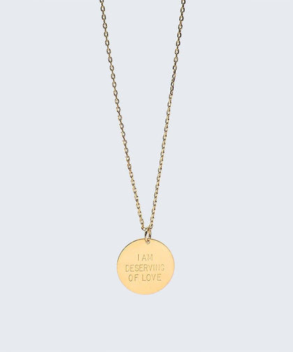 I Am Deserving of Love Disc Necklace Necklaces The Giving Keys