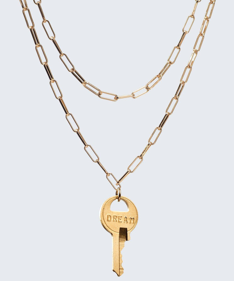 Brooklyn Double Drop Dainty Necklace Necklaces The Giving Keys DREAM GOLD