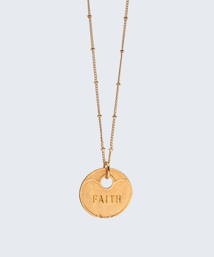 Lucky Coin Beaded Necklace Necklaces The Giving Keys FAITH GOLD