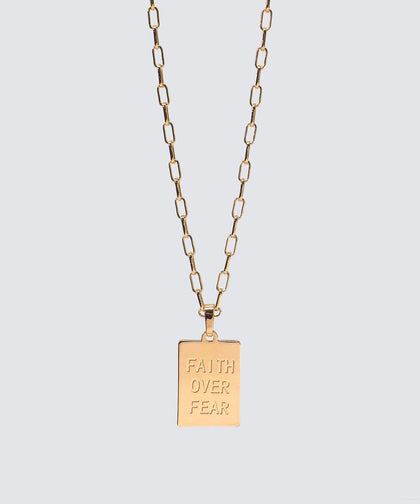 FAITH OVER FEAR Rectangle Pendant Necklace The Giving Keys GOLD