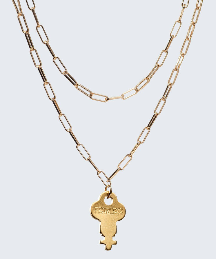 Brooklyn Double Drop Dainty Necklace Necklaces The Giving Keys FEARLESS GOLD