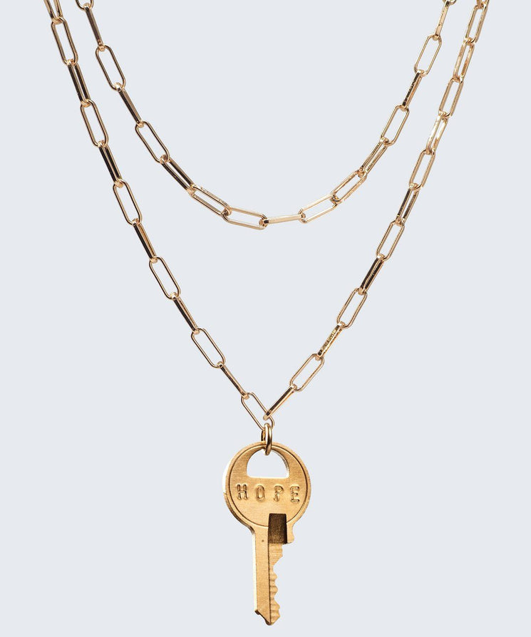 Brooklyn Double Drop Dainty Necklace Necklaces The Giving Keys HOPE GOLD