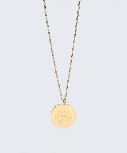 I Am a Powerful Woman Disc Necklace Necklaces The Giving Keys I AM A POWERFUL WOMAN Gold