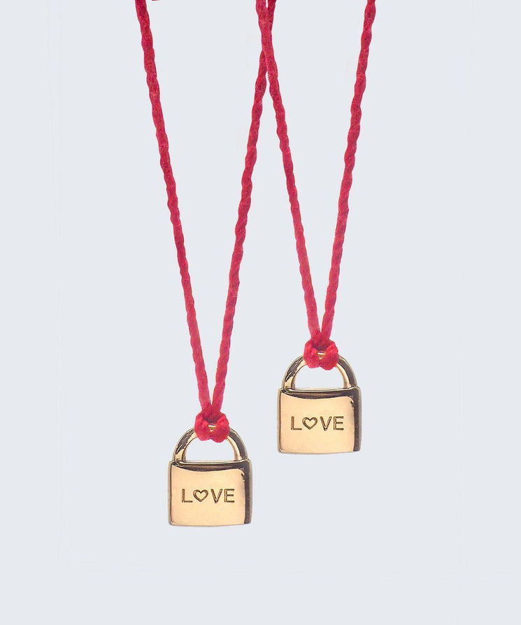 Best friend L♡VE Mini Padlock Red Thread Necklace Set (2) Necklaces The Giving Keys LOVE Gold