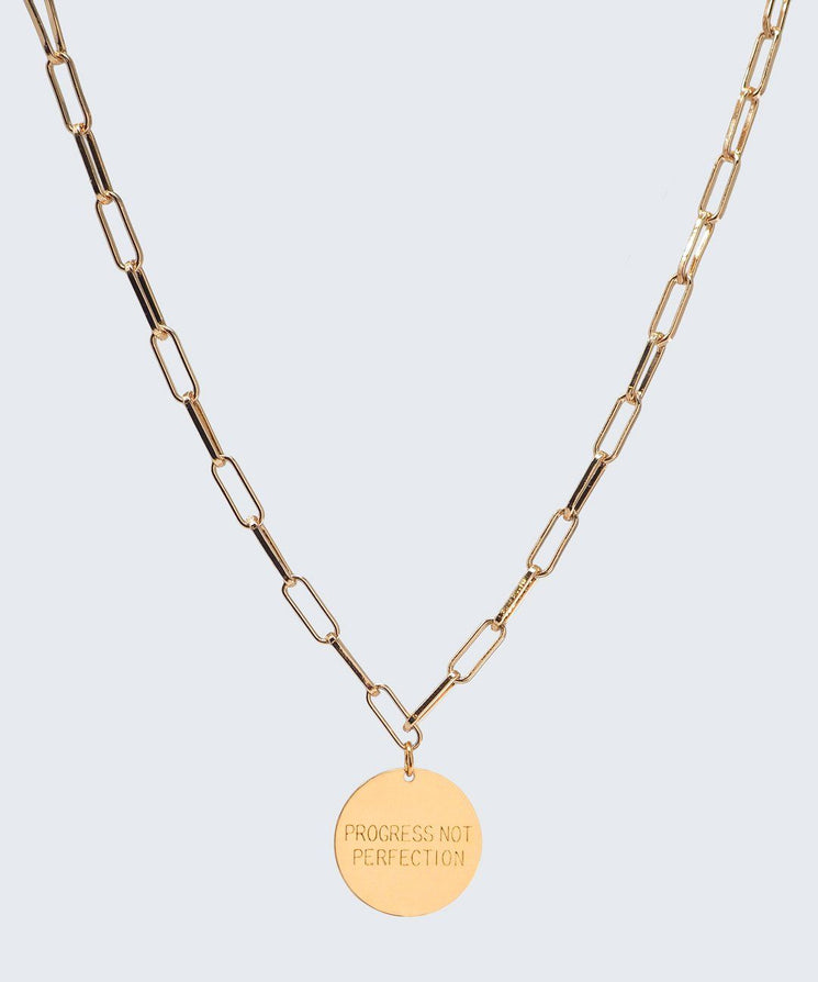 Progress Not Perfection Brooklyn Disc Necklace Necklaces The Giving Keys GOLD