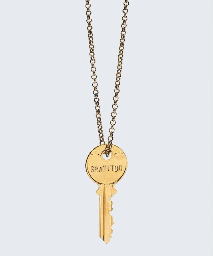 WORDAFUL Classic Key Necklace Necklaces The Giving Keys GRATITUD GOLD