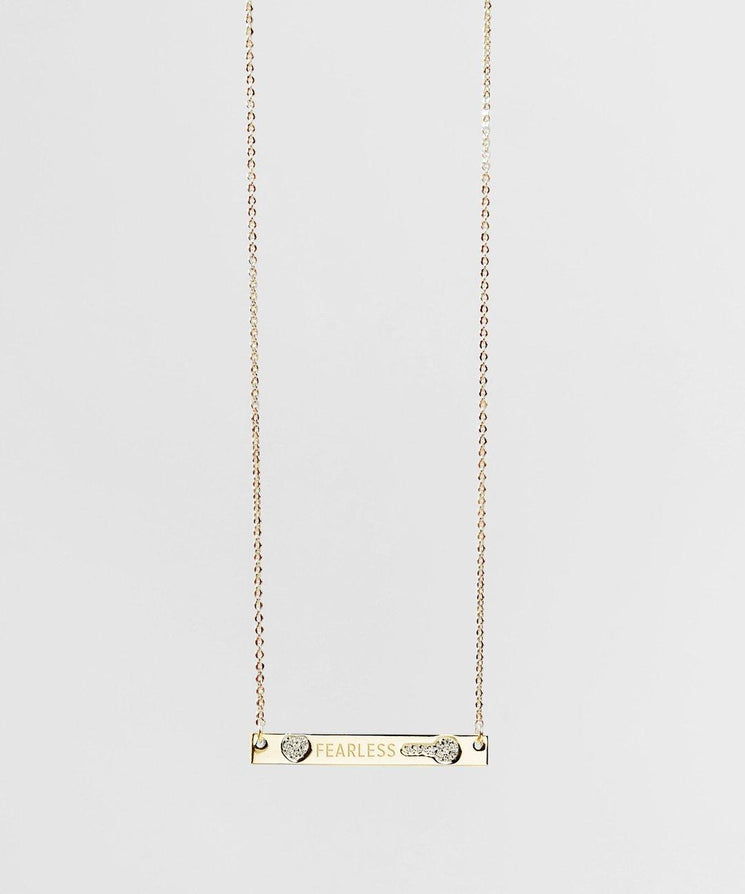 FEARLESS Pave Bar Necklace Necklaces The Giving Keys FEARLESS GOLD