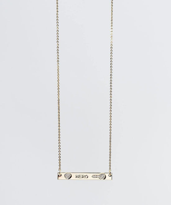 Teacher's Day Pave Bar Necklace Necklaces The Giving Keys HERO GOLD