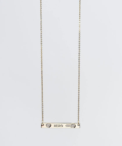 HERO Pave Bar Necklace Necklaces The Giving Keys HERO GOLD