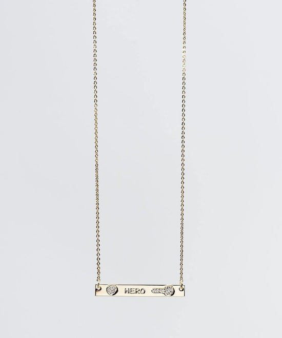 Mother's Day Pave Bar Necklace Necklaces The Giving Keys Hero Gold