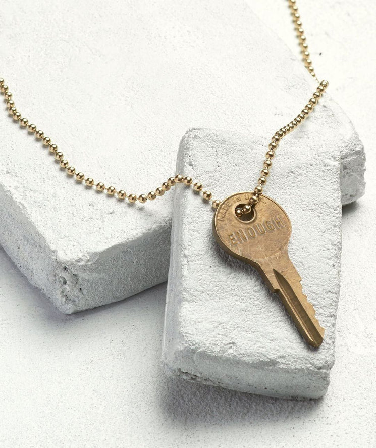 Gold Ball Chain Key Necklace Necklaces The Giving Keys ENOUGH Gold Ball