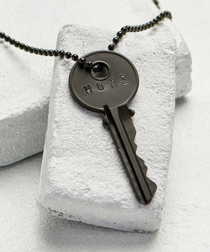 HOME Matte Black Key Necklace The Giving Keys