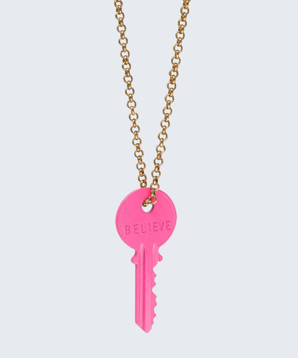 HOT Pink Classic Key Necklace Necklaces The Giving Keys