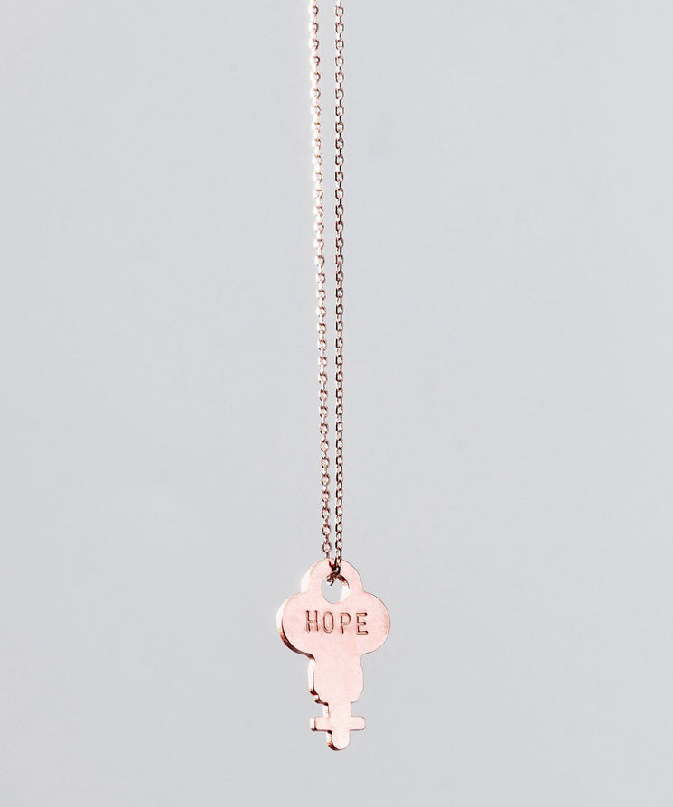 Dainty Rose Gold Key Necklace Necklaces The Giving Keys HOPE ROSE GOLD