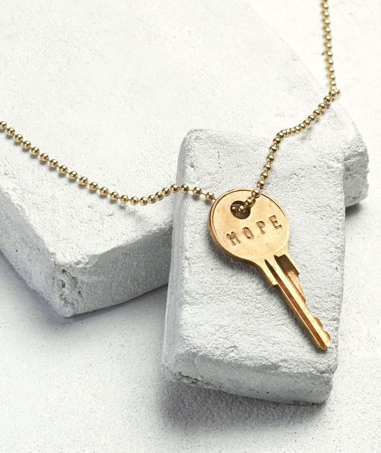 Gold Ball Chain Key Necklace Necklaces The Giving Keys HOPE Gold Ball