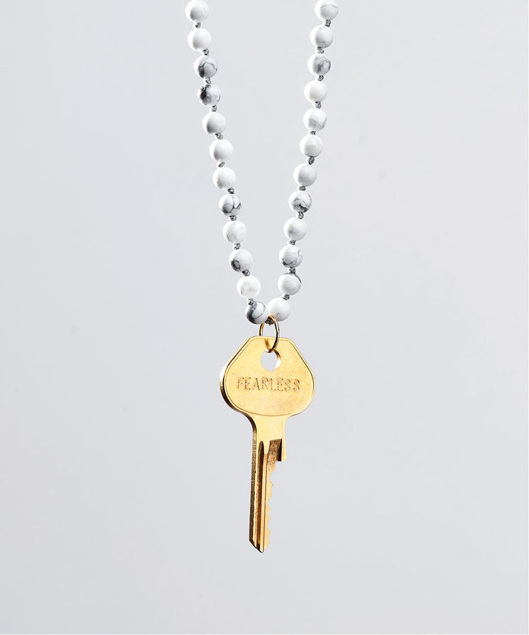 Howlite Meditation Bead Key Necklace Necklaces The Giving Keys FEARLESS GOLD
