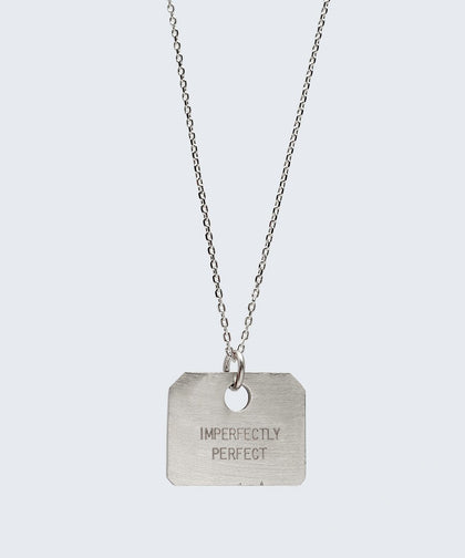 Love Your Flawz Square Pendant Necklace Necklaces The Giving Keys IMPERFECTLY PERFECT SILVER