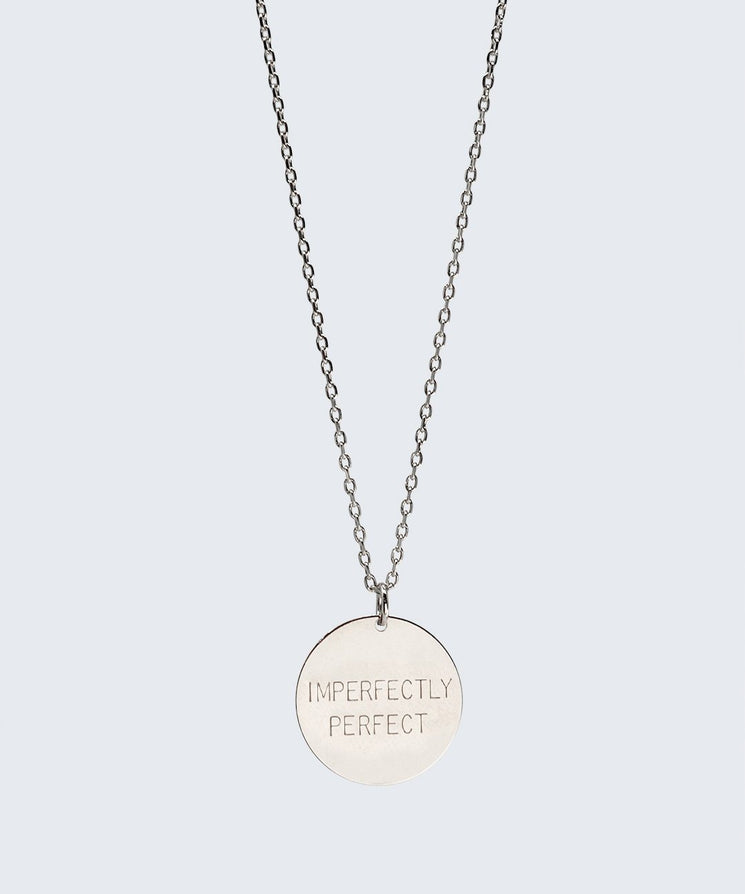 Love Your Flawz Disc Necklace Necklaces The Giving Keys IMPERFECTLY PERFECT SILVER