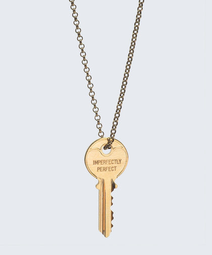 Love Your Flawz Classic Key Necklace Necklaces The Giving Keys IMPERFECTLY PERFECT GOLD