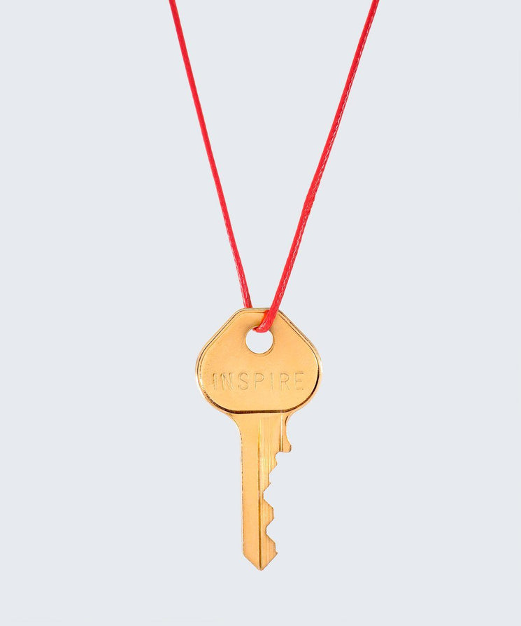 Red Strand Classic Key Necklace The Giving Keys INSPIRE GOLD