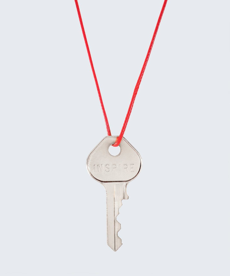 Red Strand Classic Key Necklace The Giving Keys INSPIRE SILVER