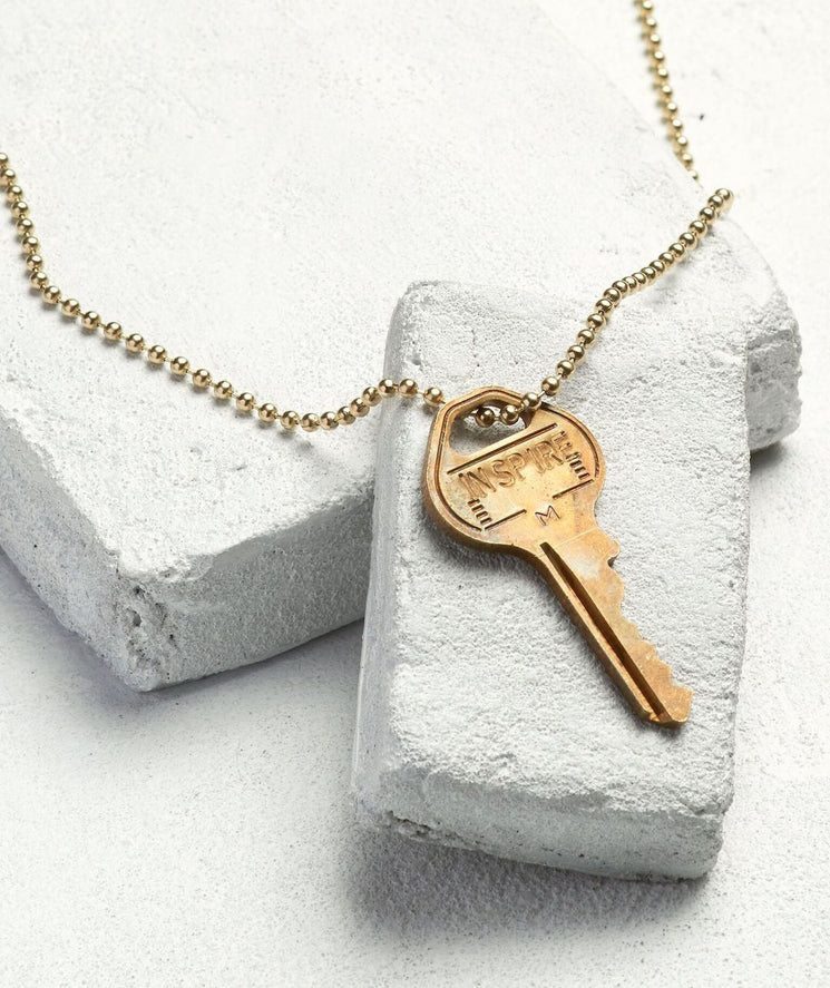 Gold Ball Chain Key Necklace Necklaces The Giving Keys INSPIRE Gold Ball