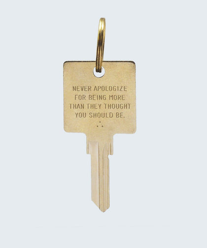 Wilder Poetry Keychain Key Chain The Giving Keys NEVER APOLOGIZE GOLD