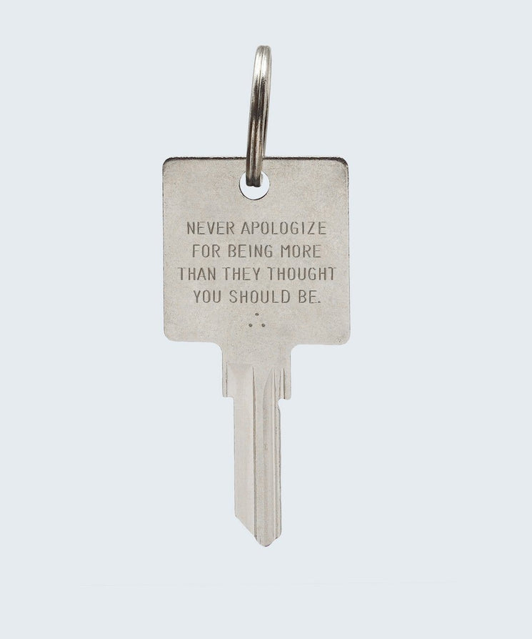 Wilder Poetry Keychain Key Chain The Giving Keys NEVER APOLOGIZE SILVER
