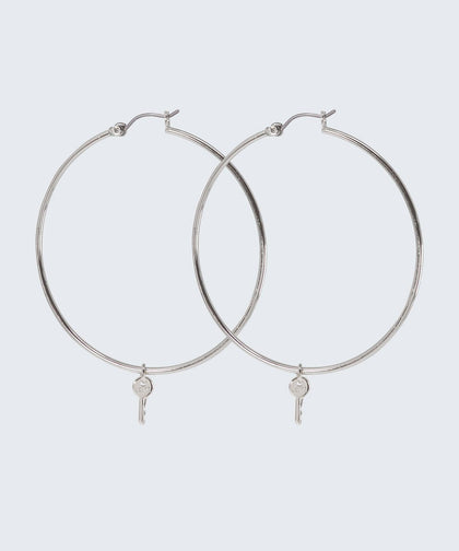 Large Thin Hoop Earrings The Giving Keys Large Silver