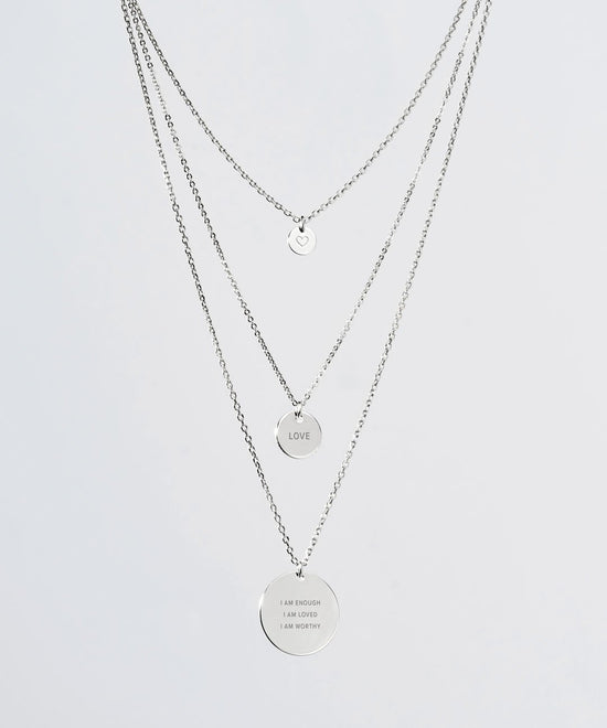 Silver Layered Disc Necklace Necklaces The Giving Keys SILVER Various
