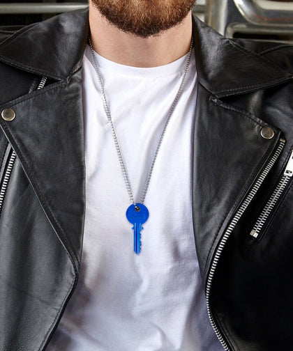 CLASSIC BLUE Ball Chain Key Necklace Necklaces The Giving Keys | Lifestyle