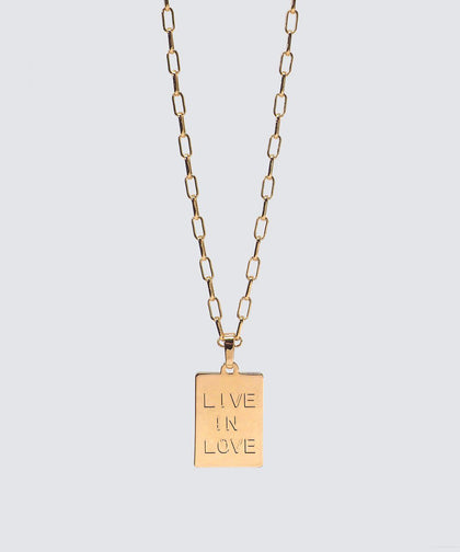 LIVE IN LOVE Rectangle Pendant Necklace The Giving Keys GOLD