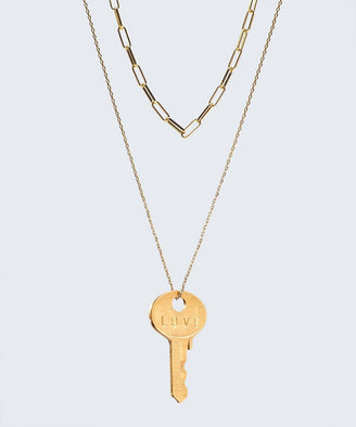 Double Drop Dainty Necklace Necklaces The Giving Keys LOVE GOLD