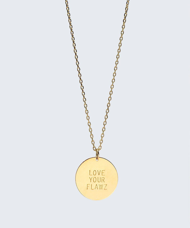 Love Your Flawz Disc Necklace Necklaces The Giving Keys LOVE YOUR FLAWZ GOLD