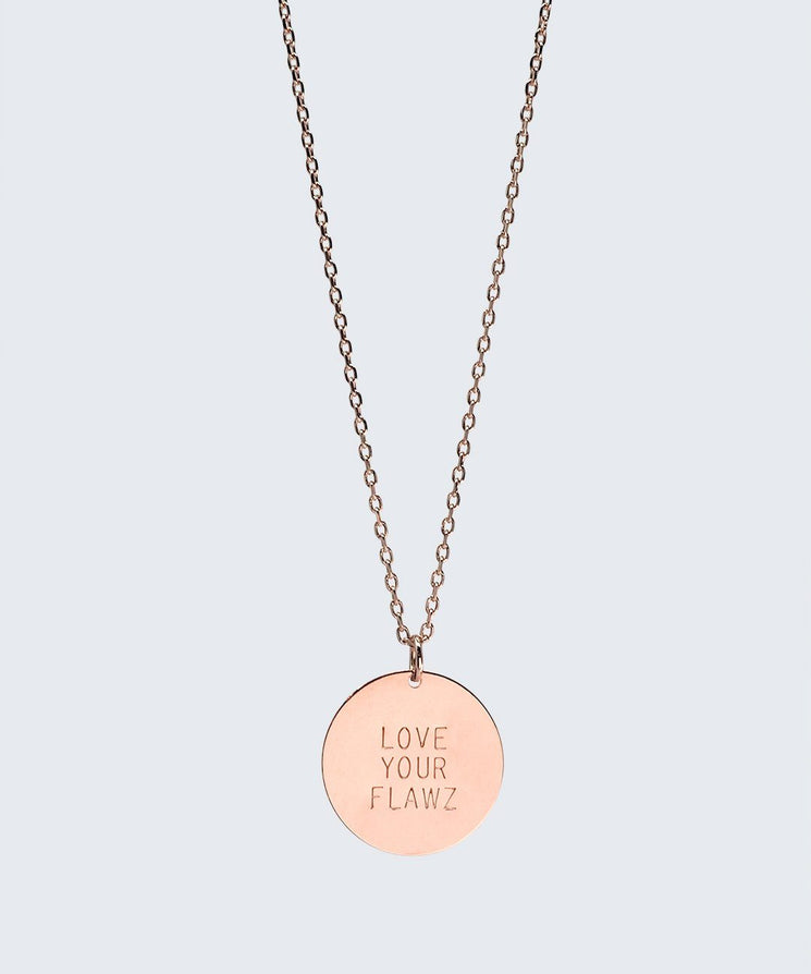 Love Your Flawz Disc Necklace Necklaces The Giving Keys LOVE YOUR FLAWZ ROSE GOLD