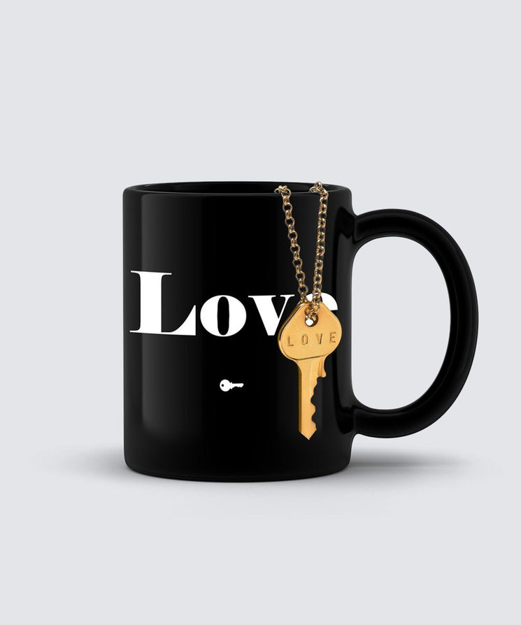 LOVE Classic Key Necklace + Mug Gift Set Bundle The Giving Keys LOVE GOLD