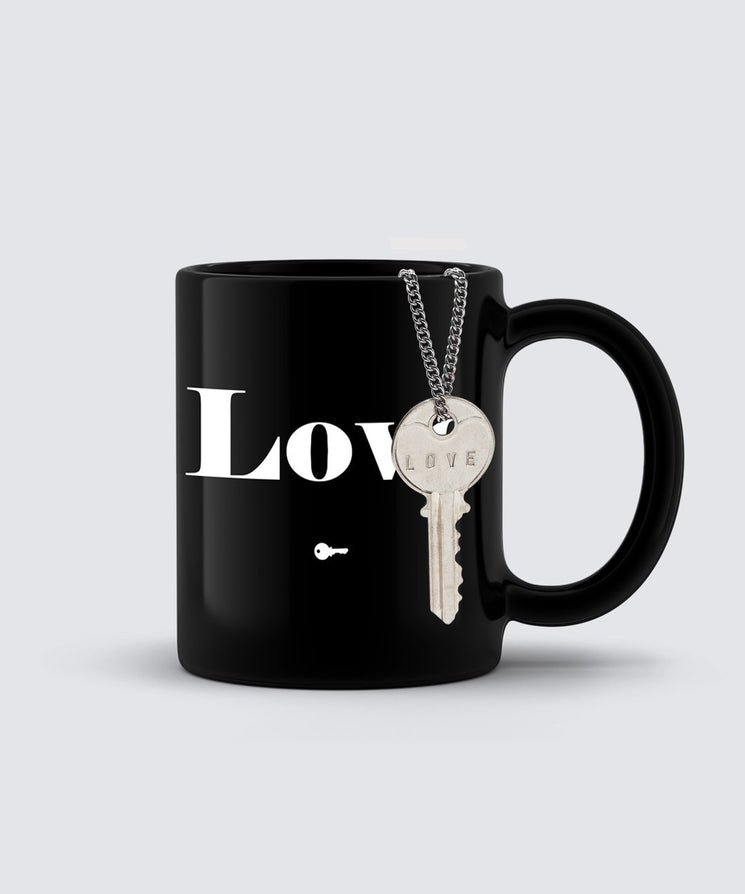 LOVE Classic Key Necklace + Mug Gift Set Bundle The Giving Keys LOVE SILVER