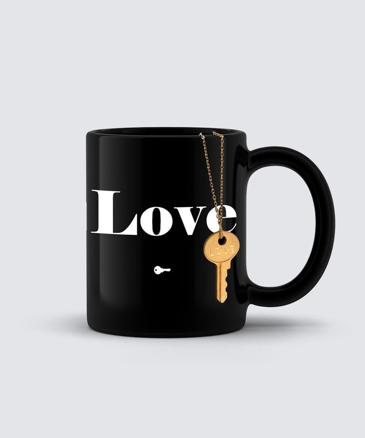 LOVE Dainty Key Necklace + Mug Gift Set Bundle The Giving Keys LOVE GOLD