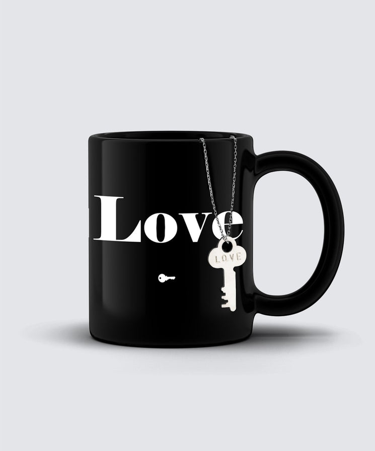 LOVE Dainty Key Necklace + Mug Gift Set Bundle The Giving Keys LOVE SILVER