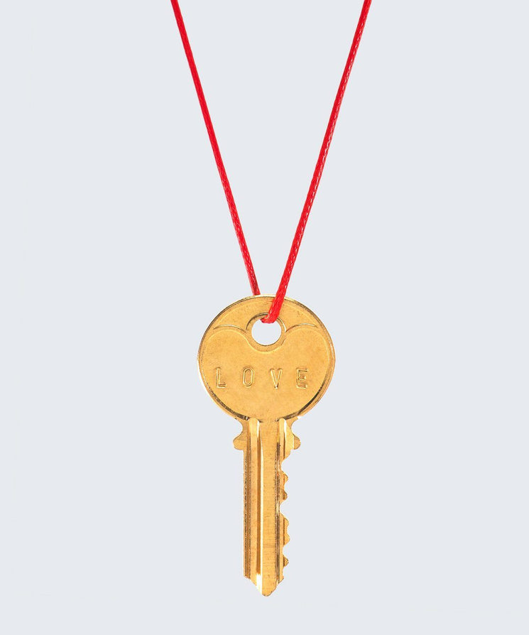 Red Strand Classic Key Necklace The Giving Keys LOVE GOLD