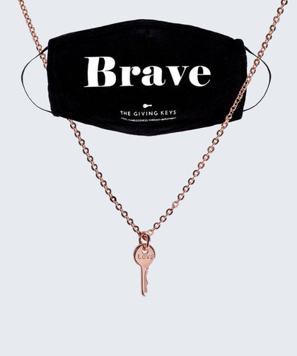 BRAVE Face Mask + Rose Gold Mini LOVE Necklace Bundle The Giving Keys BLACK