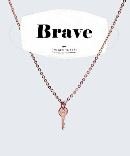BRAVE Face Mask + Rose Gold Mini LOVE Necklace Bundle The Giving Keys WHITE