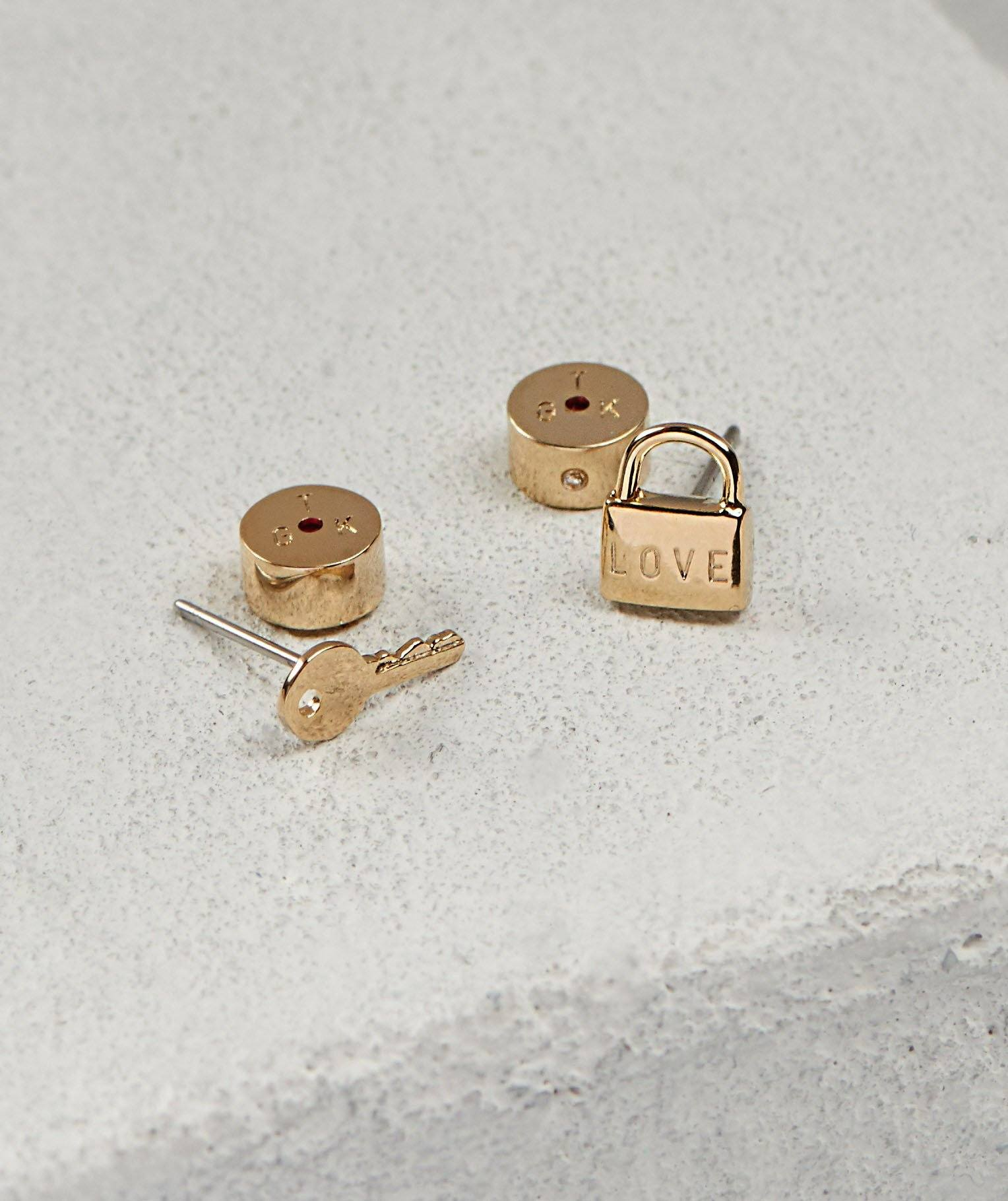 LOVE Mini Padlock & Key Post Earrings